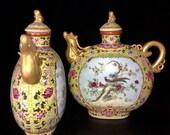 A Pair Rare Big Chinese Antique Qing Dynasty Yong Zheng 清代雍正 Famille Rose Porcelain Flowers Bird Teapot