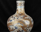 Big Beautiful Chinese Antique Old Ming Dynasty Xuan De Emperor明代宣德 Blue White Porcelain Hand painting Dragon Globular Shape Vase