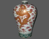 Rare Unique Chinese Antique Da Qing QianLong Dynasty Famille-Rose Porcelain Vase With Dragon