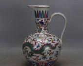 Fine Chinese Antique ming Dynasty 明代 Five Colours Porcelain Dragon Phoenix teapot