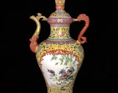Rare Fine Big Chinese Antique Qing Dynasty Qian Long 清代乾隆 Famille Rose Porcelain Flowers Bird Teapot