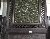 One Beautiful Chinese Antique Oriental Handicraft Old JasperCarved Screen With Monkey Pattern