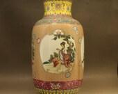Rare Fine Big Chinese Antique Qing Dynasty Qian Long 清代乾隆 Colored enamel Porcelain Figure Vase