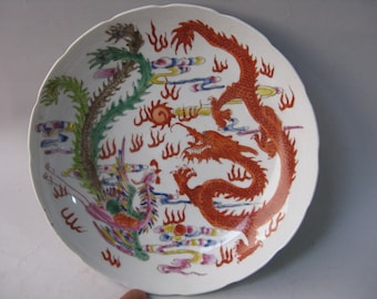 Rare Chinese Antique Da Qing GuanXu Dynasty Famille-Rose Porcelain Plate With Dragon Phoenix Pattern Free Ship