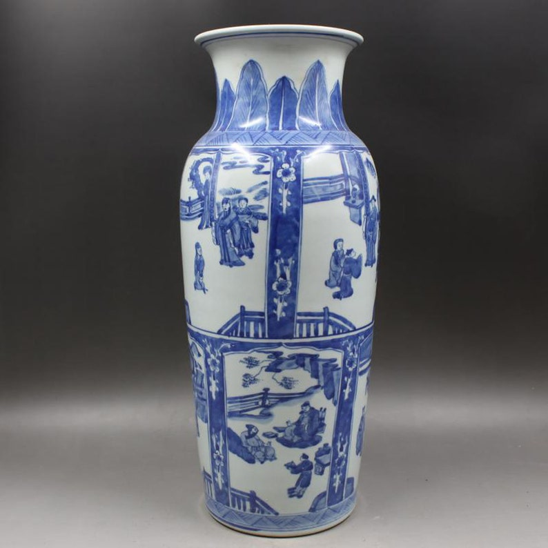 Beautiful Chinese Antique Old Qing Dynasty Kang Xi emperor \u6e05\u4ee3\u5eb7\u7199 Blue White Porcelain Hand painting Figure Vase