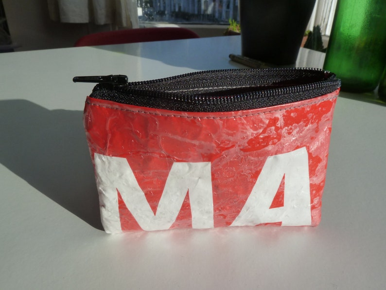 Upcycled Plastic Bag Zip pouch Pelican 104 red with black zip large coin purse or card holder
