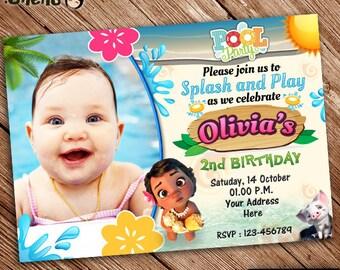 Moana Birthday Invitation Pool Party Printable