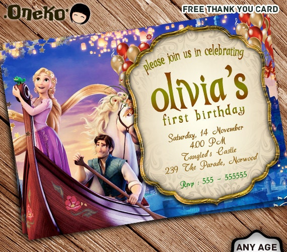 SALE 50 OFF Rapunzel Birthday Invitation And FREE Thank You