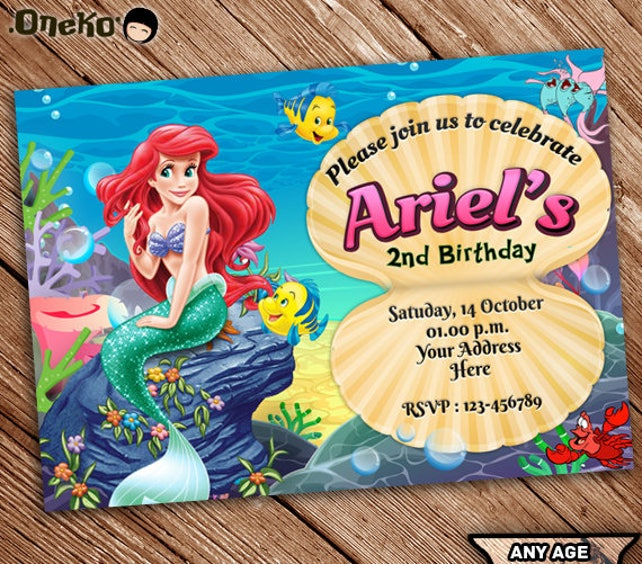 On SALE The Little Mermaid Birthday Invitation Printable