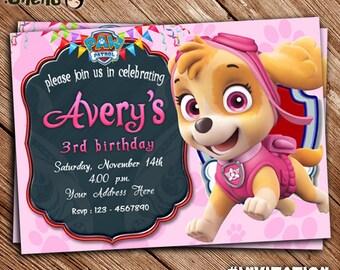 SALE 50% OFF Paw Patrol SKYE Printable Birthday Invitation - Paw Patrol Theme - Invitation for Kid or Girl - Birthday Card - Invite