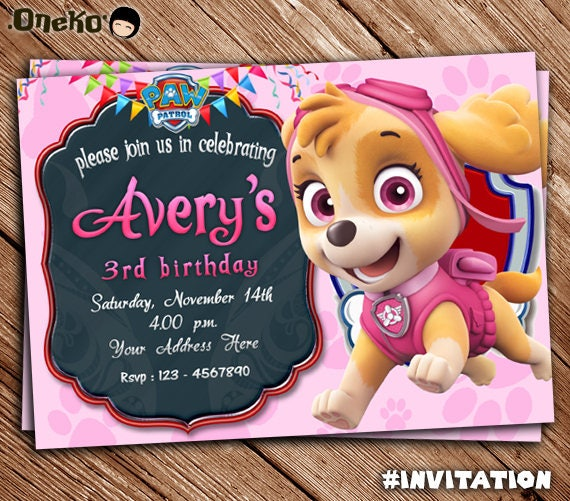 Paw Patrol SKYE Printable Birthday Invitation