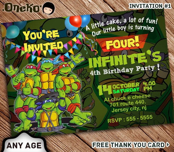 Teenage Mutant Ninja Turtle Birthday Invitation Tmnt Etsy