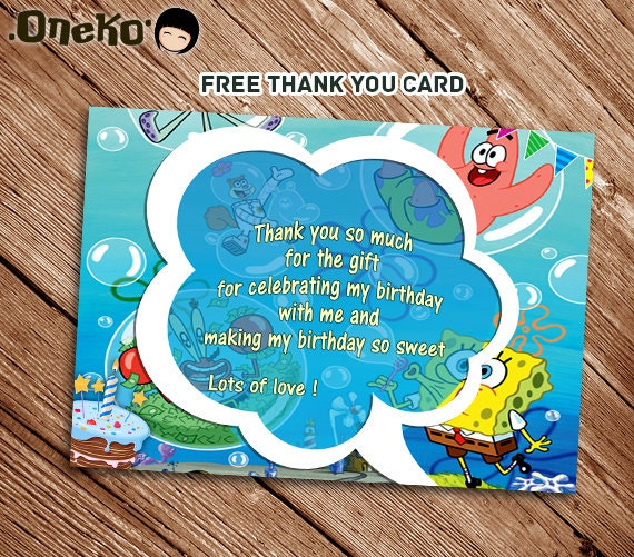 SALE 50 OFF Spongebob Birthday Invitation