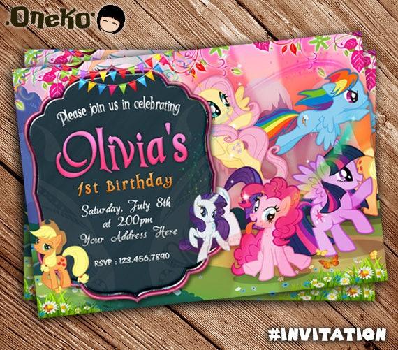 My Little Pony Birthday Party Invitation Unicorn Rainbow