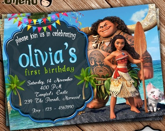 SALE 50% OFF Moana Birthday Invitation Printable - Moana Birthday Invitation Theme - Moana Invitation for Girls and Boys - Digital -