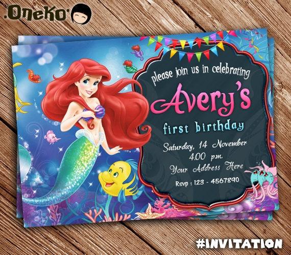 The Little Mermaid Birthday Invitation Printable Ariel