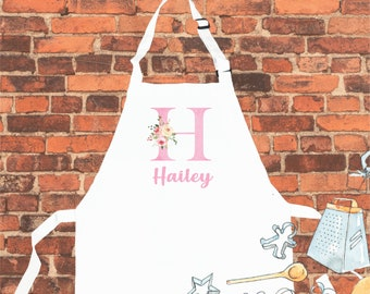 Personalised Pink Initial Letter Apron, Personalised APRON, Personalized Children Apron, Birthday Gift, Apron Custom, Aprons For Kids,