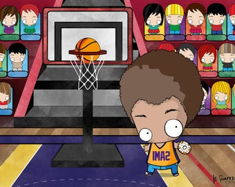 Gift for basketball player. Custom Portrait as Cartoon Character.