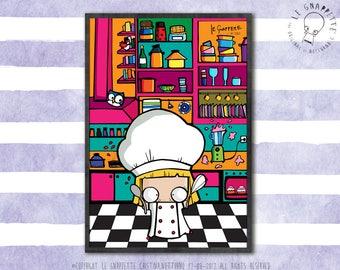 Stampa Chef cucina. Stampa decorativa per cucina. Stampa cuoca in cucina.  Decorazioni murali per cucina. Stampa divertente per cuoca.
