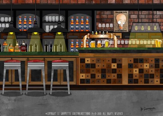 Geschenk öffnen Kneipen Brauerei Kneipe Benutzerdefinierte Cartoon Porträt Kellner Kneipe Oder Brauerei Präsentieren