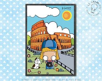 Stampa Colosseo Roma. Viaggio in Italia. Decorazione per Sala da Pranzo, Ufficio, Camera Bambini, Studio.