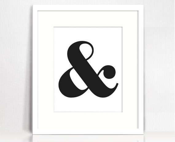 Ampersand typography wall decor. Printable wall art. | Etsy