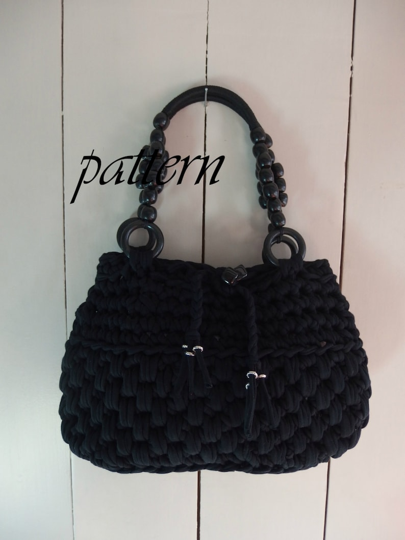 Digital Crochet Pattern T Shirt Yarn Bag Crochet Handbag Tutorial