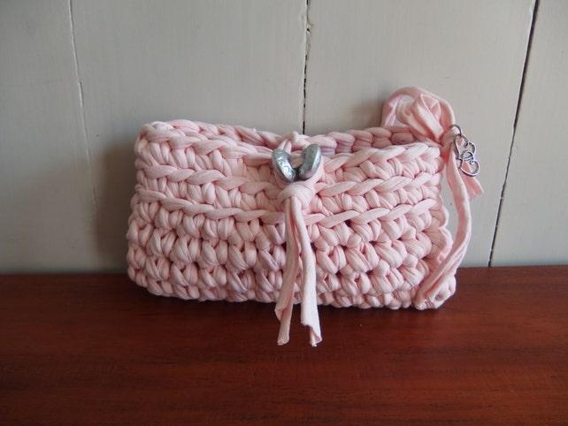 Rosa Mini Tasche/Beutel häkeln von Zpagetti-Garn. | Etsy