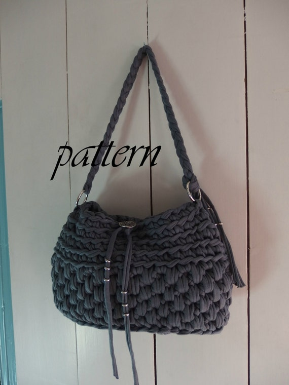Digital Crochet Pattern T Shirt Yarn Handbag Crochet Bag Pattern Crochet Bag Tutorial Yarn Bag Pattern Zpagetti Bag Crochet Pattern