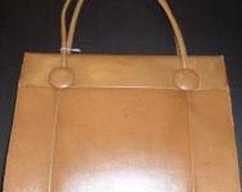 Taupe Leather Vintage Handbag