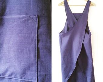 Cross back linen apron