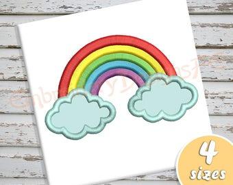 Rainbow Applique Design - 4 sizes - Machine Embroidery Design File