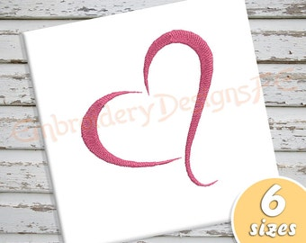 Heart Embroidery Design - 6 Sizes - Filled Stitch Machine Embroidery Design File