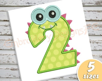Monster Number 2 Applique Design - 5 Sizes - Machine Embroidery Design File
