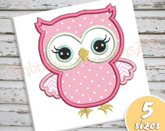 Owl Applique Design - 5 sizes - Machine Embroidery Design File