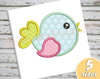 Bird Applique Design - 5 sizes - Machine Embroidery Design File