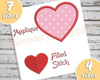 Heart Design Pack -Heart Applique + Heart Filled Stitch - Machine Embroidery Design File