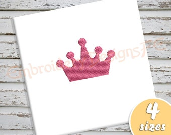 Crown Mini Embroidery Design - 4 Sizes - Filled Stitch Machine Embroidery Design File