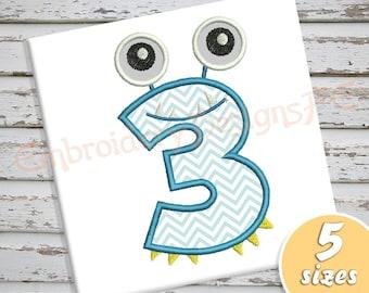 Monster Number 3 Applique Design - 5 Sizes - Machine Embroidery Design File