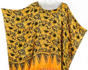 7af0ae4d11398 Hibiscus   Hippie Kaftan Women Blouse Caftan Tunic Top Rayon Beach Cover up Plus  Size 1x 2x 3x 4x 5x P37