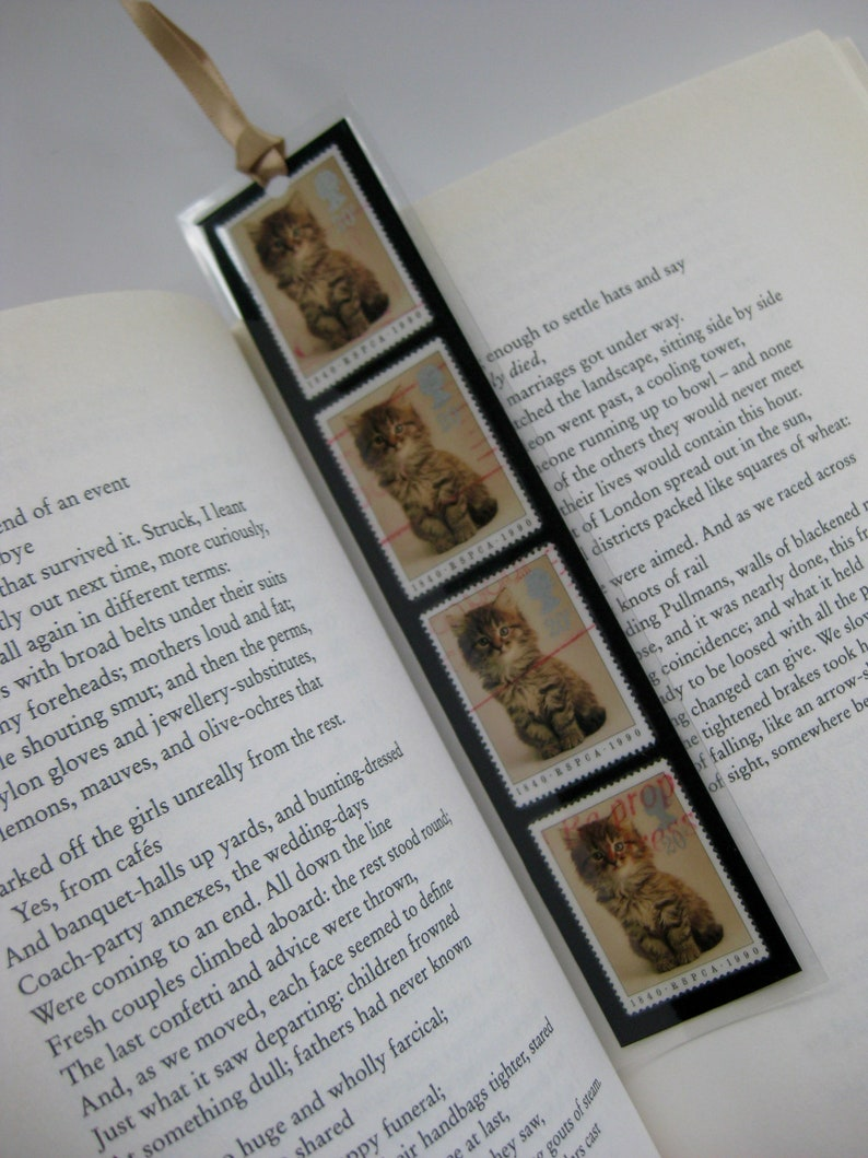 Kitten  Unique bookmark made with four GB/UK postage stamps from 1990   Great stocking filler