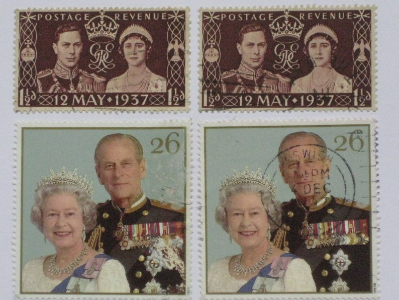 Unique handmade wedding card made with UKGB postage stamps from various Royal occasions Queen Elizabeth Queen Victoria and George VI.