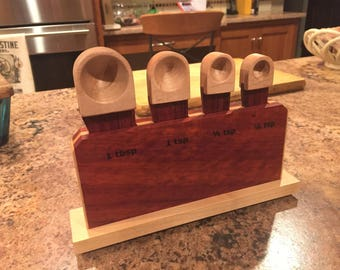 Wood Measuring Spoons and Stand