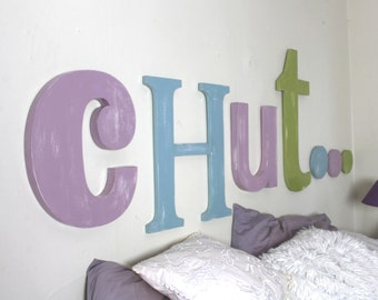 headboard wooden eggplant, kaki, Baltic blue - personalized letters - giant letters - original bed - mylittledecor