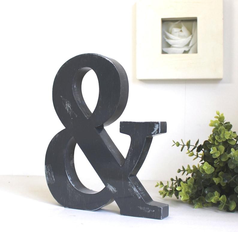 grande lettre en bois & gris zingué patiné à poser - lettre couleur  personnalisable - décoration mariage - esperluette - mylittledecor