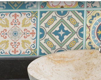 TIVA DESIGN, Venetian Beauty Tile/Wall/Stairs Peel and Stick Decal/Sticker. Kitchen, Bathroom, Backsplash, DIY, Vinyl, Wall,  waterproof