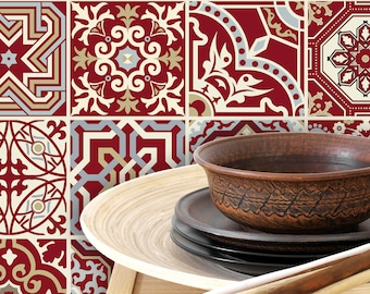 TIVA DESIGN, Maroon Red Tile/Wall/Stairs Peel and Stick Decal, Tile Sticker, Kitchen, Bathroom, Backsplash, DIY,  Decal, Vinyl, waterproof