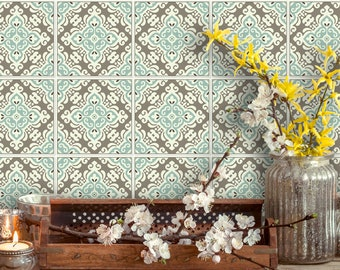 TIVA DESIGN, Pushkar Tile/Wall/Stairs Peel and Stick Decal/Sticker. Kitchen, Bathroom, Backsplash, DIY, Cabinet, Vinyl, Wall,  waterproof