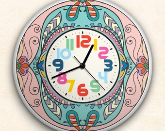 """Round Wall Clock Acrylic Glass  """"Sweetie Pink"""" Silent Non Ticking Battery Operated Decorative for Living Room Kitchen Home Office, 12 Inch."""