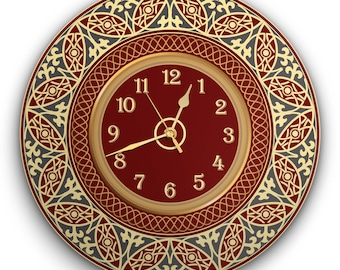"""Round Wall Clock Acrylic Glass """" England Classic"""" Silent Non Ticking Battery Operated Decorative for Living Room, Kitchen ,Office, 12 Inch"""